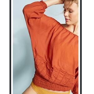 Anthropologie Wolven Smocked Bubble Top Rust Color